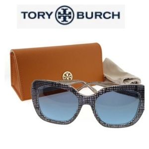 NWT Tory Burch Square Navy Crystal Sunglas…